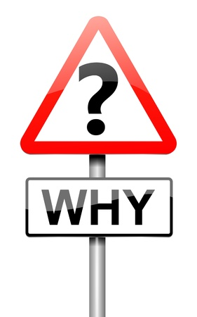 inquiring: Illustration depicting a roadsign with a why concept. White background.