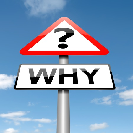 inquiring: Illustration depicting a roadsign with a why concept. Sky background.