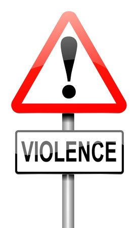 dominate: Illustration depicting a roadsign with a violence concept. White background.