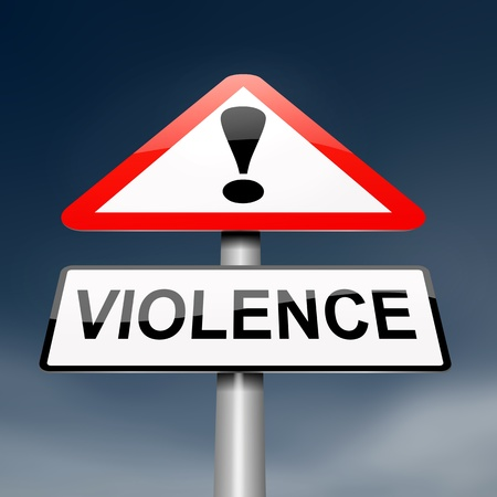 fearing: Illustration depicting a roadsign with a violence concept. Dark sky background. Stock Photo