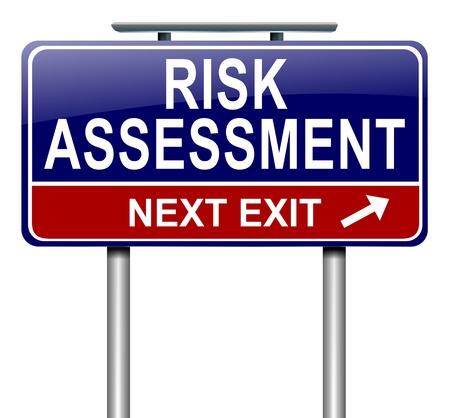 risiko: Die Illustration zeigt eine roadsign mit einem Konzept der Risikobewertung. Wei�er Hintergrund.