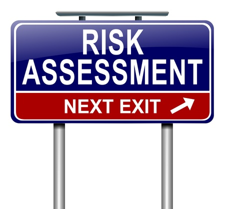 Illustration depicting a roadsign with a risk assessment concept. White background.