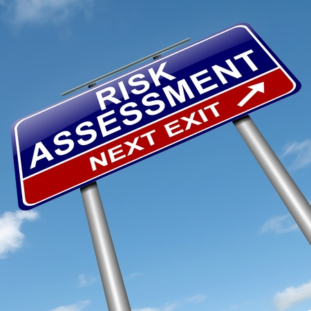 assessment: Illustration depicting a roadsign with a risk assessment concept. Sky background. Stock Photo
