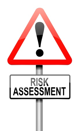 assessment: Illustration depicting a roadsign with a risk assessment concept. White background.