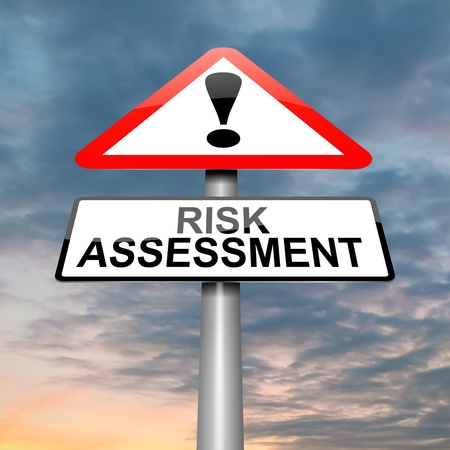 assessment: Illustration depicting a roadsign with a risk assessment concept. Cloudy dusk sky background. Stock Photo