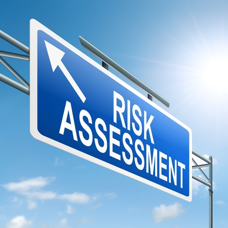 workplace safety: Illustration depicting a roadsign with a risk assessment concept. Sky background. Stock Photo