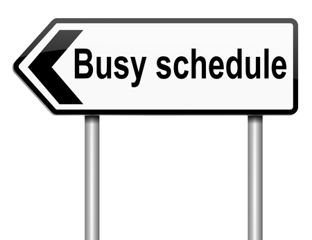 hurried: Illustration depicting a roadsign with a busy schedule concept. White background. Stock Photo