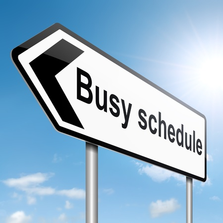 full day: Illustration depicting a roadsign with a busy schedule concept. Sky background. Stock Photo
