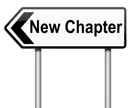 new start: Illustration depicting a roadsign with a new chapter concept. White background.