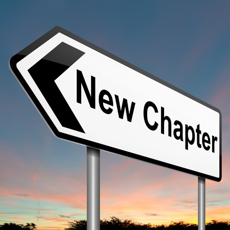 chapter: Illustration depicting a roadsign with a new chapter concept. Dawn sky background. Stock Photo