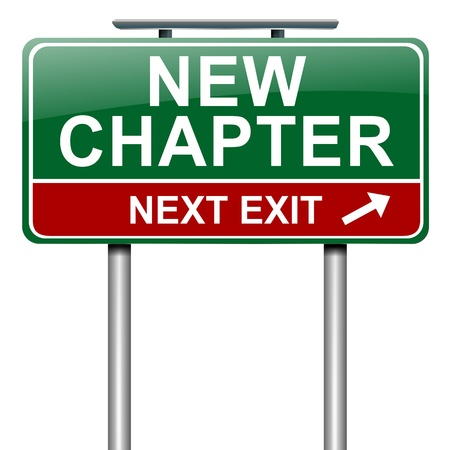 new beginning: Illustration depicting a roadsign with a new chapter concept. White background.