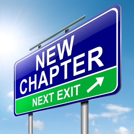 better: Illustration depicting a roadsign with a new chapter concept. Sky background.