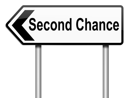 again: Illustration depicting a roadsign with a second chance concept. White background.