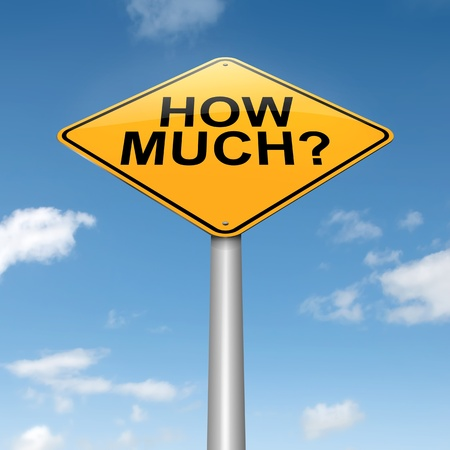 excess: Illustration depicting a roadsign with ahow much concept. Sky background.