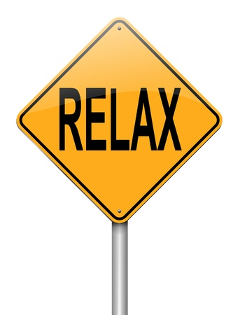 go out: Illustration depicting a roadsign with a relax concept. White background. Stock Photo