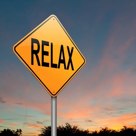 hassle: Illustration depicting a roadsign with a relax concept. Dusk sky background. Stock Photo