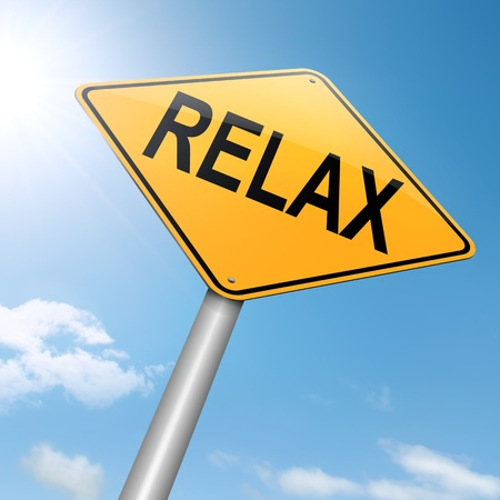 loosen: Illustration depicting a roadsign with a relax concept. Sky background.