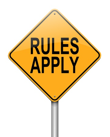 don't: Illustration depicting a roadsign with a rules concept. White background. Stock Photo