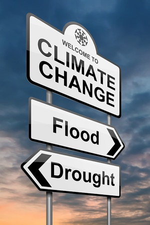 global warming: Illustration depicting a roadsign with a climate change concept. Sky background.
