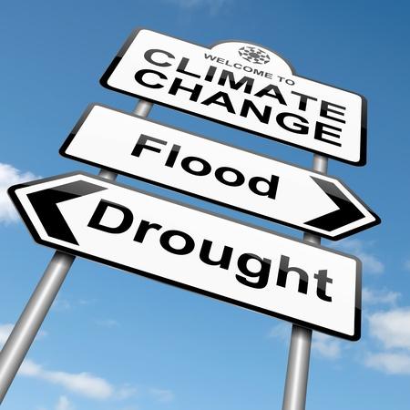 calentamiento global: Ilustración que representa un roadsign con un concepto de cambio climático. Sky fondo. Foto de archivo