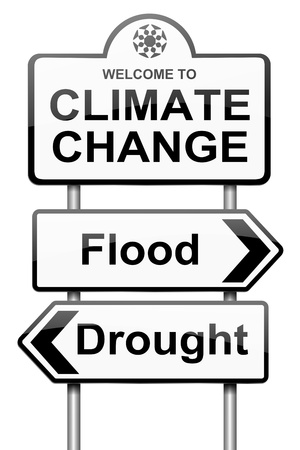 FLOODING: Illustration depicting a roadsign with a climate change concept. White background.