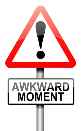 moments: Illustration depicting a roadsign with an awkward moment concept. White background. Stock Photo
