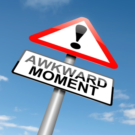 awkward: Illustration depicting a roadsign with an awkward moment concept. Sky background.