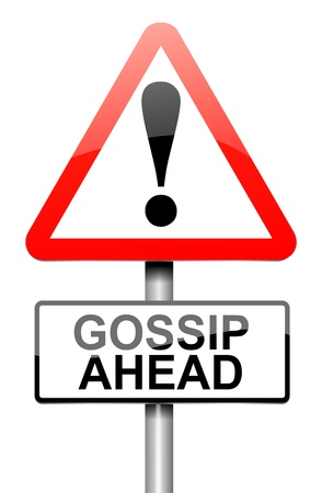 confiding: Illustration depicting a roadsign with a gossip concept. White background. Stock Photo
