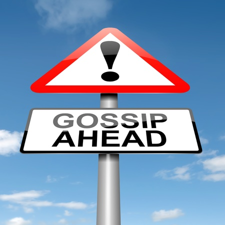 confiding: Illustration depicting a roadsign with a gossip concept. Sky background. Stock Photo