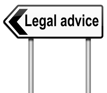 advising: Illustration depicting a roadsign with a legal advice concept. White background. Stock Photo