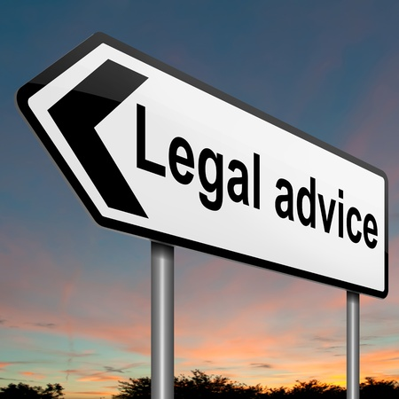 Illustration depicting a roadsign with a legal advice concept. Sky background. illustration