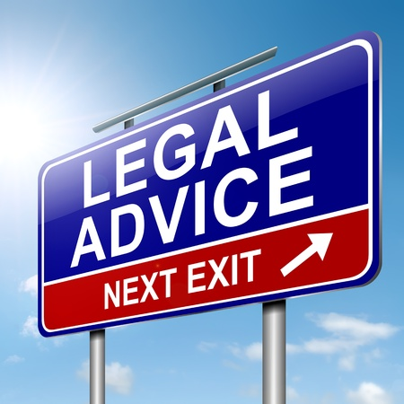 legal: Illustration depicting a roadsign with a legal advice concept. Sky background.