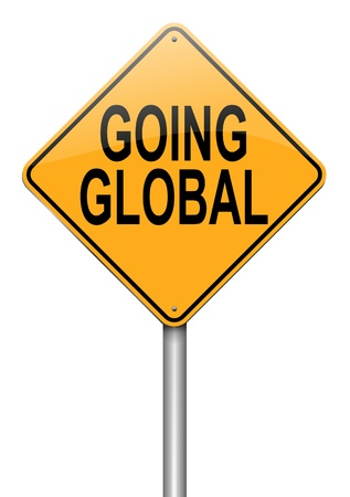 oversea: Illustration depicting a roadsign with a going global concept. White background. Stock Photo