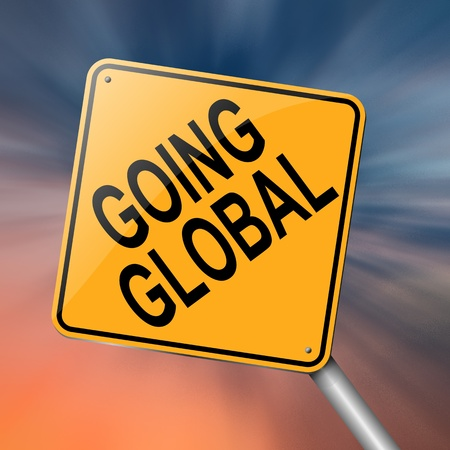 oversea: Illustration depicting a roadsign with a going global concept. Abstract background.