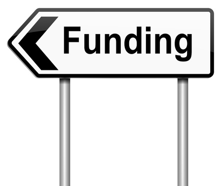 Illustration depicting a roadsign with a funding concept. White background.