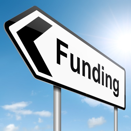 Illustration depicting a roadsign with a funding concept. Sky background.
