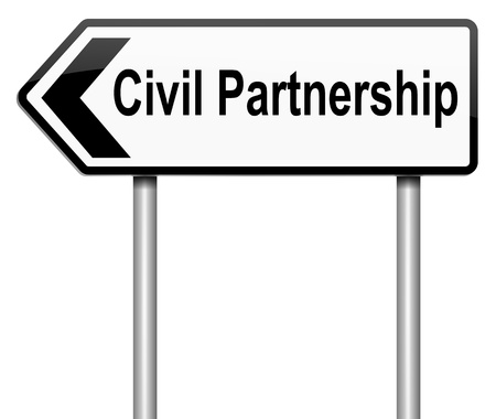 Illustration depicting a roadsign with a civil partnership concept. White background. Stock Illustration - 16254995