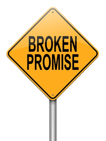 broken down: Illustration depicting a roadsign with a broken promise concept. White background.