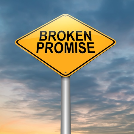 broken down: Illustration depicting a roadsign with a broken promise concept. Sky background.