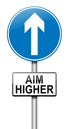 aim: Illustration depicting a roadsign with an aim higher concept. White background. Stock Photo