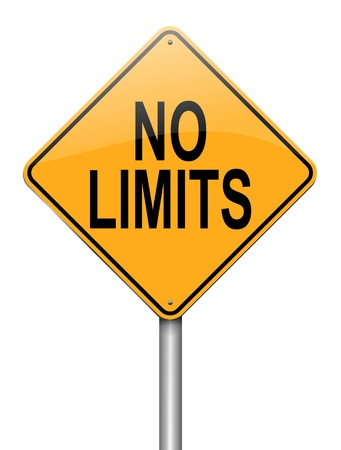 unrestrained: Illustration depicting a roadsign with a no limits concept. White background. Stock Photo