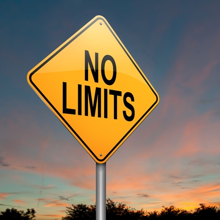 unlimited: Illustration depicting a roadsign with a no limits concept. Sky background.