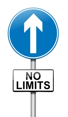 limitations: Illustration depicting a roadsign with a no limits concept. White background. Stock Photo