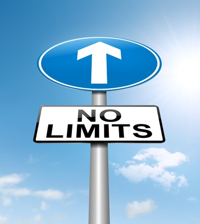 reach: Illustration depicting a roadsign with a no limits concept. Sky background.
