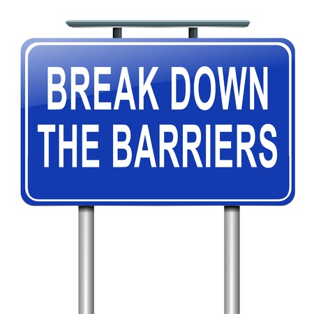 trouble free: Illustration depicting a roadsign with a break down the barriers concept. White background. Stock Photo