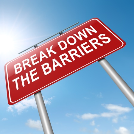 Illustration depicting a roadsign with a break down the barriers concept. Sky background.