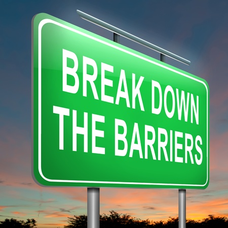 break down: Illustration depicting an illuminated roadsign with a break down the barriers concept. Dusk sky background. Stock Photo