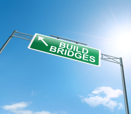merge: Illustration depicting a roadsign with a building bridges concept. Sky background.