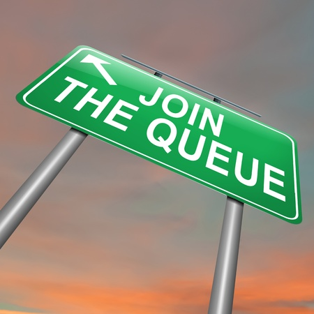 Illustration depicting a roadsign with a join the queue concept. Dusk sky background.