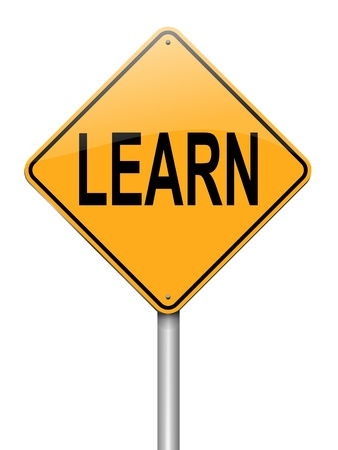 acquire: Illustration depicting a roadsign with a learn concept. White background.